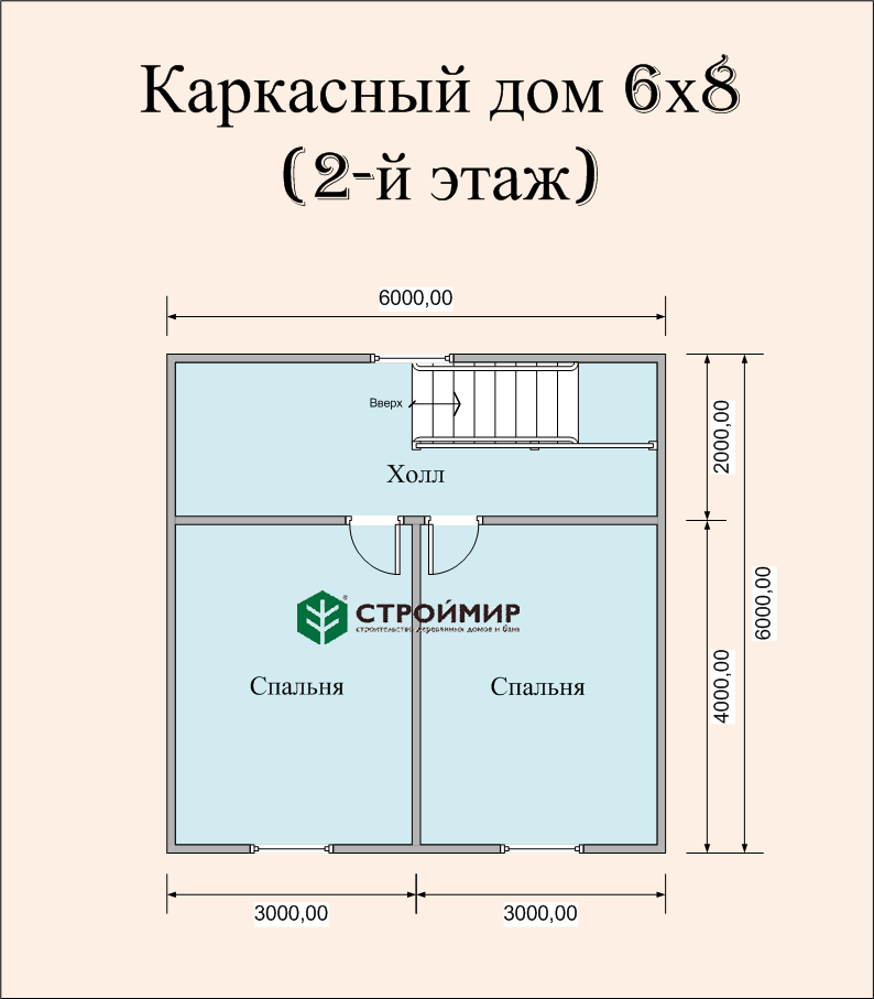 Каркасный дом 6х8, проект К-20