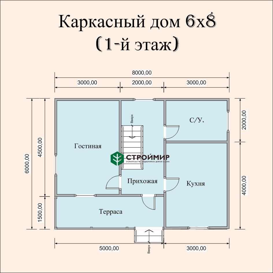 Каркасный дом 6х8, проект К-21
