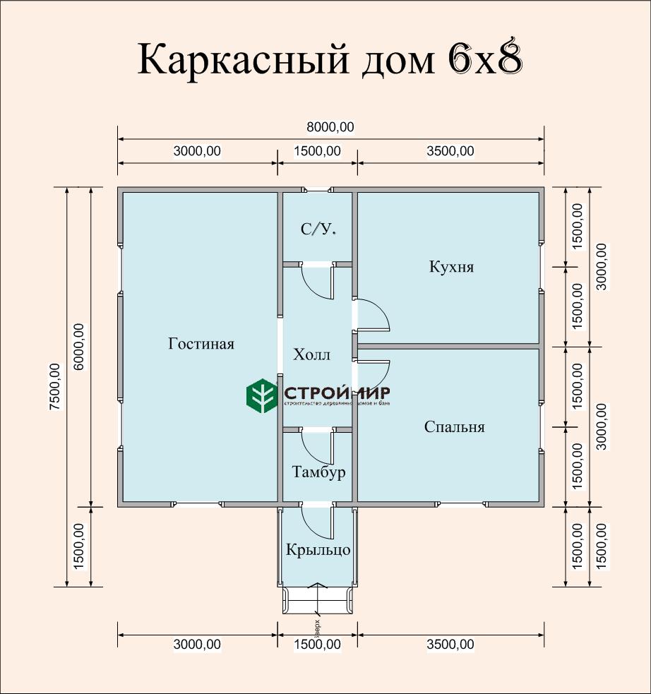 Каркасный дом 6х8 одноэтажный, проект К-52