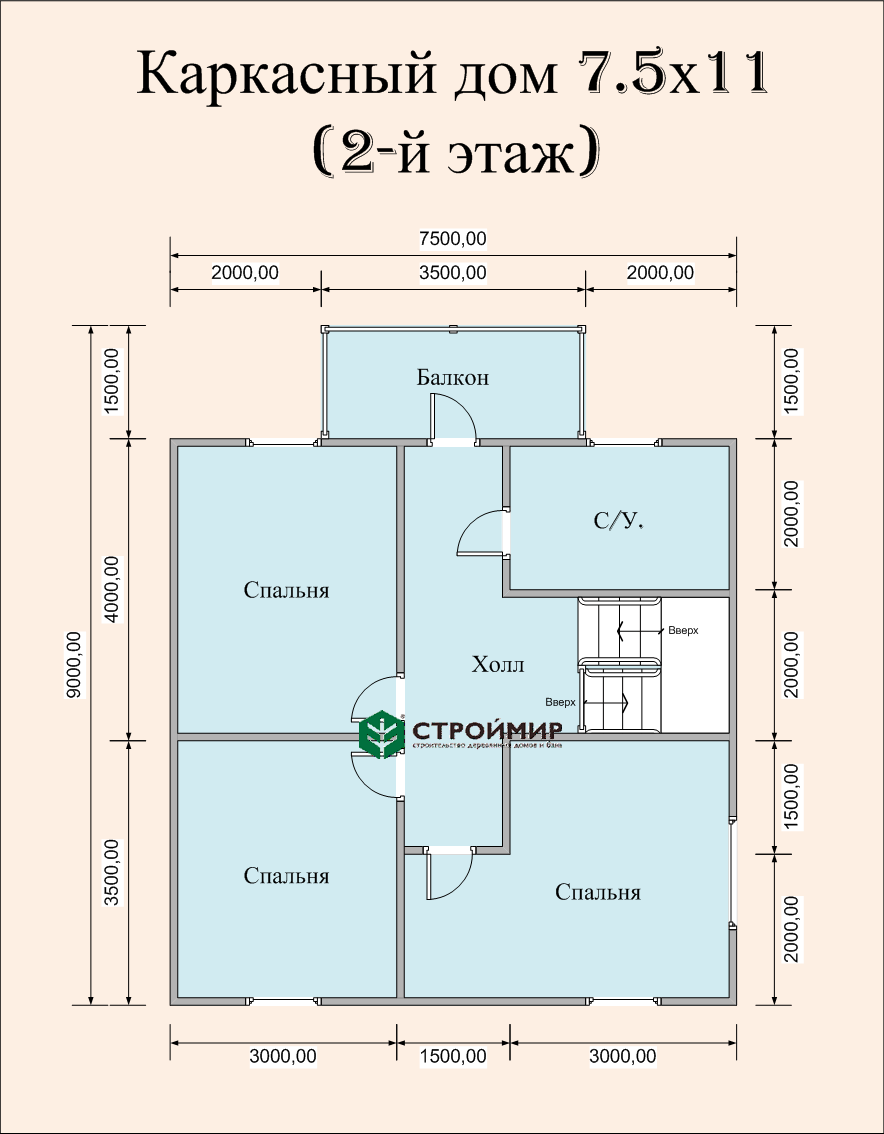 Каркасный дом 7,5х11, проект К-34