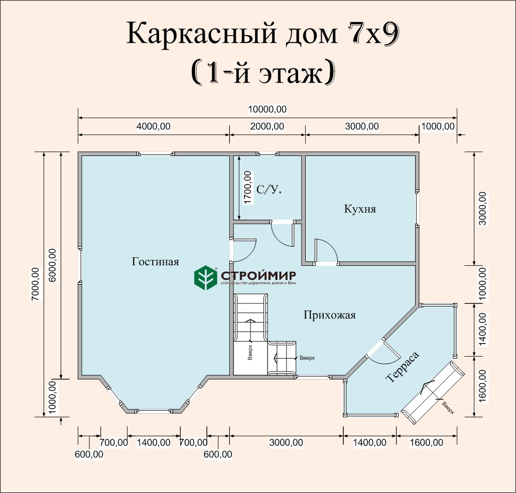 Каркасный дом 7х9 с эркером, проект К-35