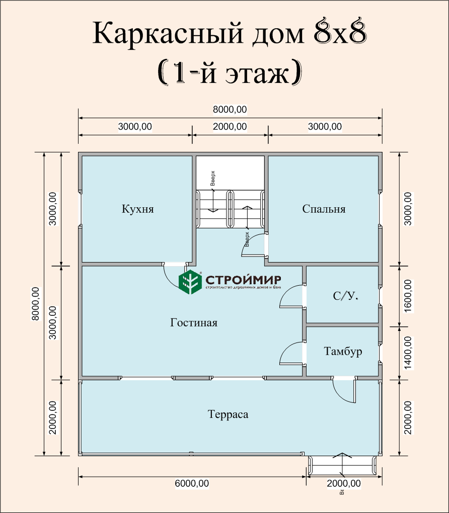 Каркасный дом 8х8, проект К-37