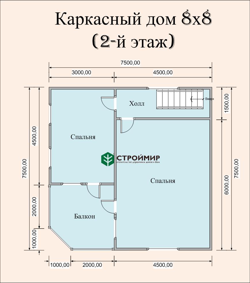 Каркасный дом 8х8, проект К-38