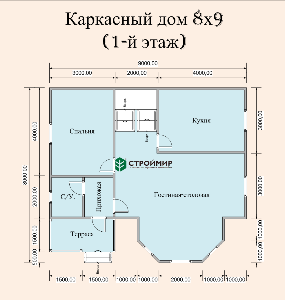 Каркасный дом 8х9, проект К-40