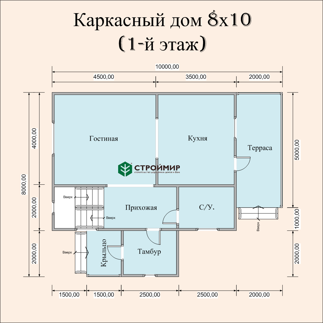 Каркасный дом 8х10, проект К-41