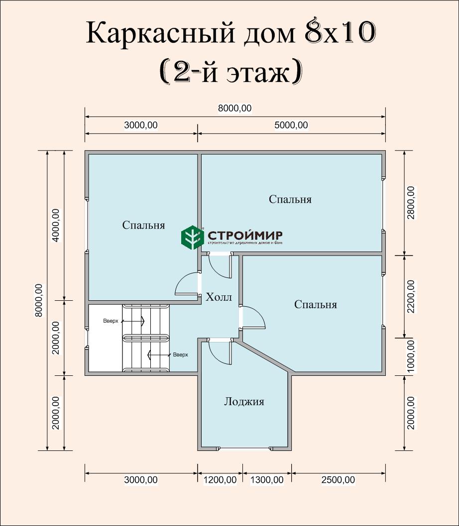 Каркасный дом 8х10 для круглогодичного проживания, проект К-41