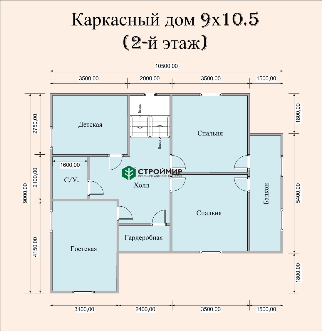 Каркасный дом 9х10,5, проект К-43