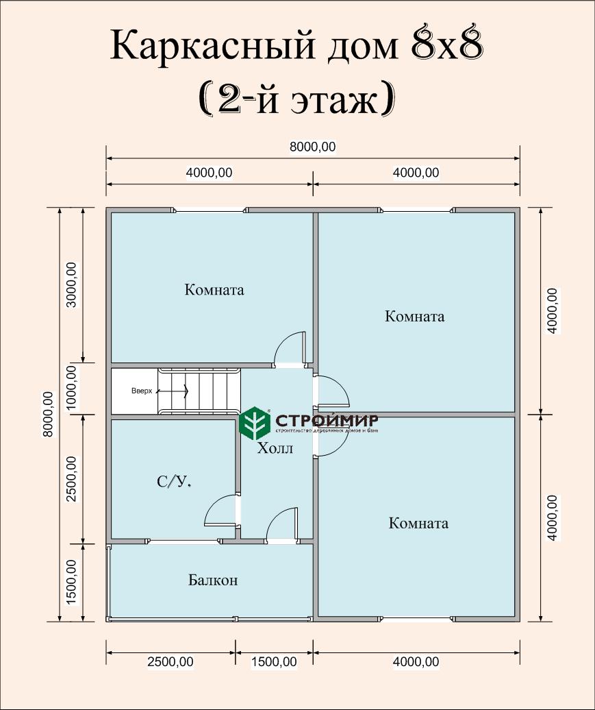 Каркасный дом 8х8 с навесом для машины, проект К-44