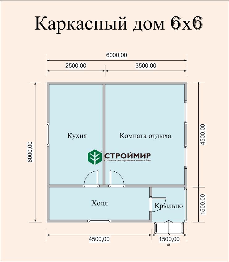 Каркасный дом 6х6, проект К-48