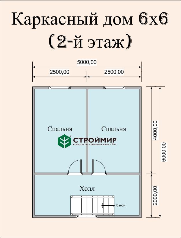 Каркасный дом 6х6, проект К-5