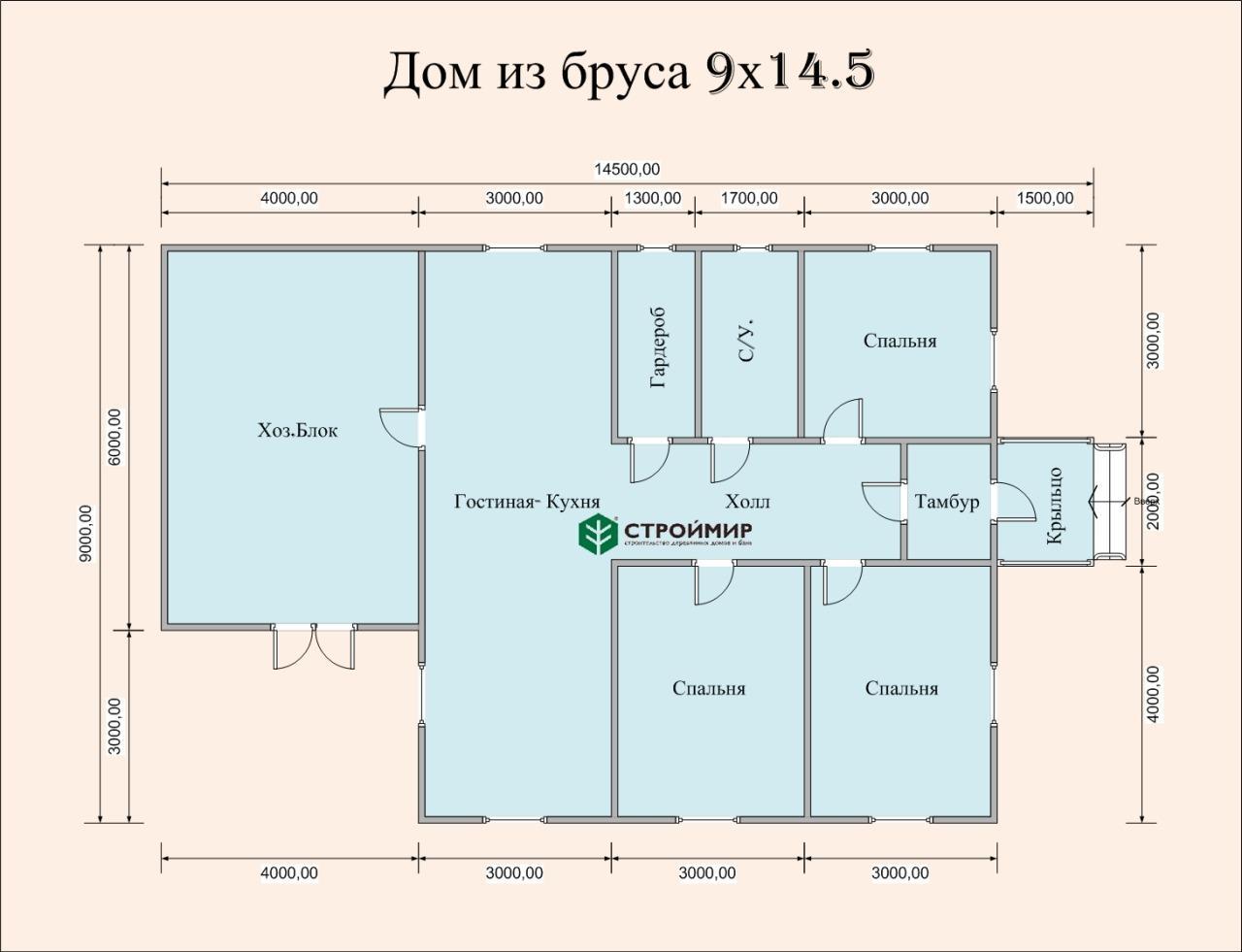 Одноэтажный дом из бруса 9х14 по проекту Д-108