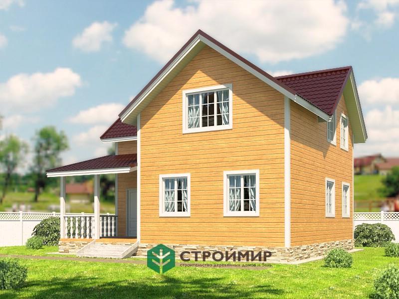 Каркасный дом 9х9 двухэтажный, проект К-55