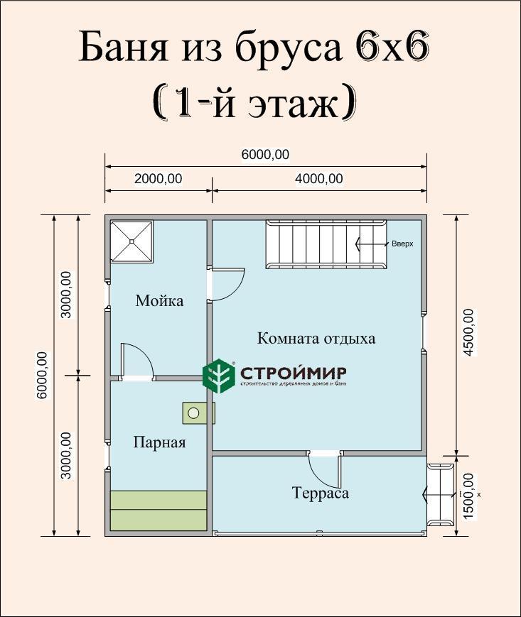 Баня двухэтажная 6х6