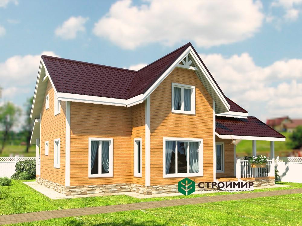 Двухэтажный каркасный дом 7,5х9,5 с двумя входами, проект К-131