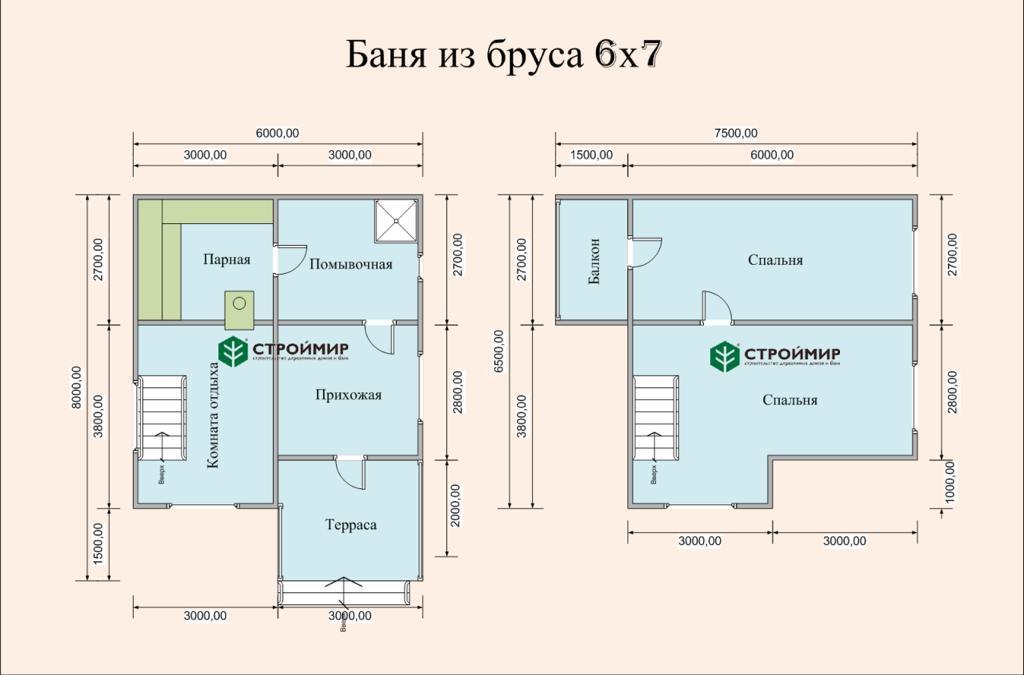 Двухэтажная баня 6х7 из бруса Б-72