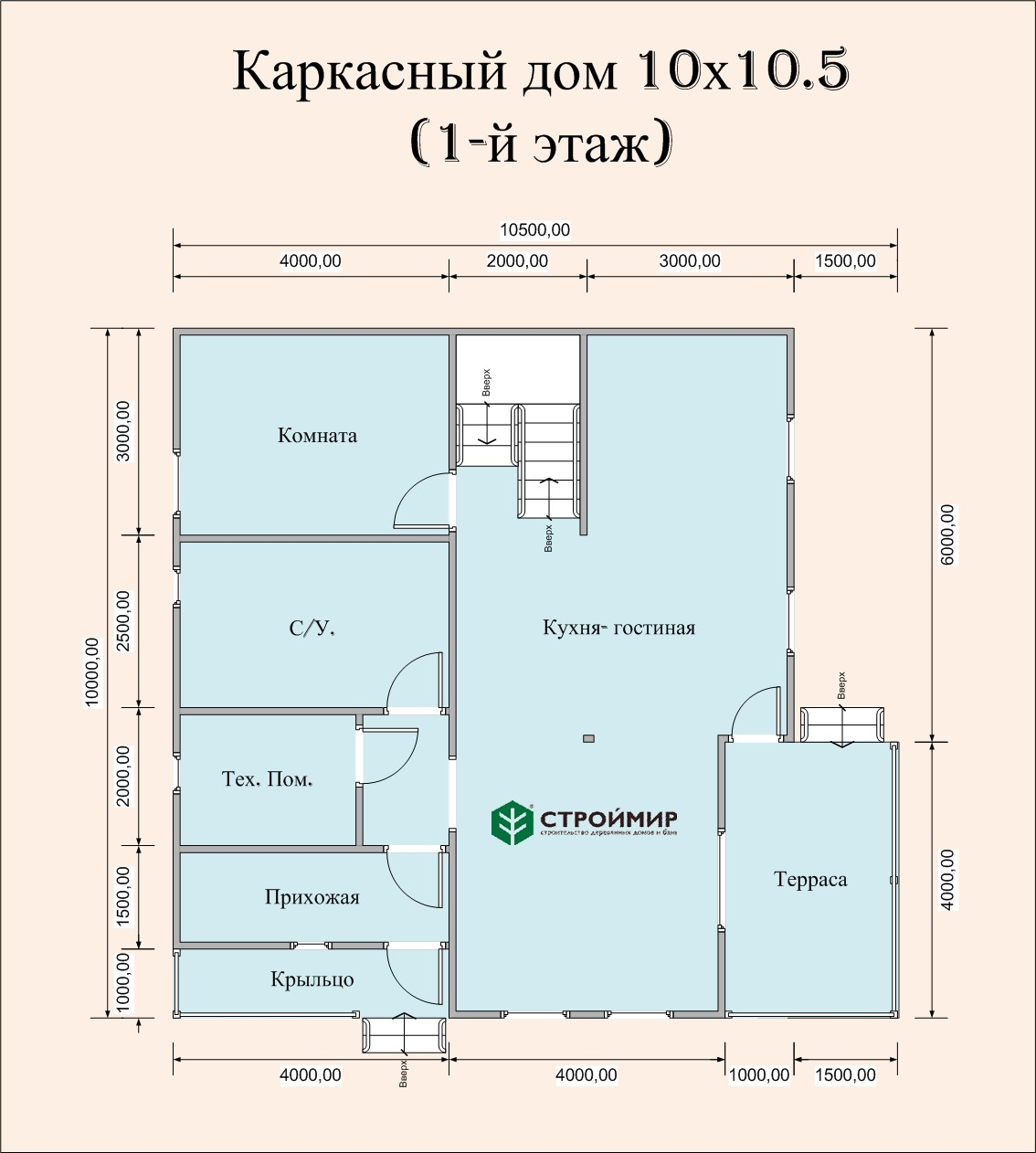 Каркасный дом 10х10,5 проект К-78