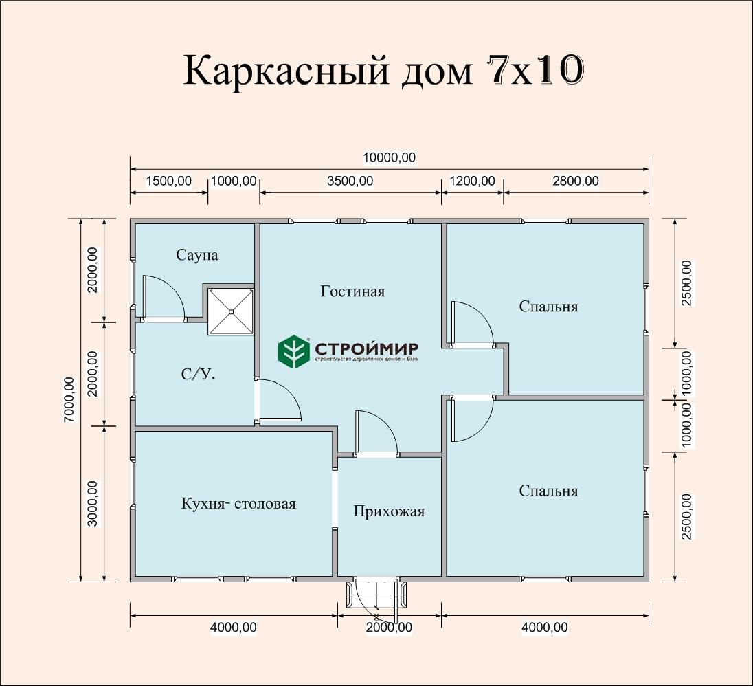 Каркасный дом 7х10 (проект К-90)