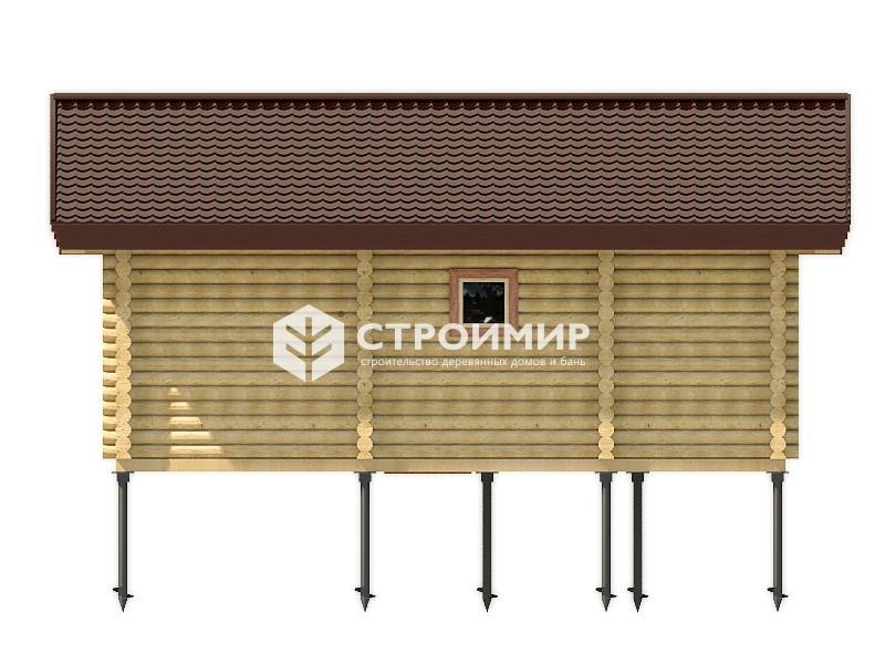 Баня 7х8 из оцилиндрованного бревна по проекту ББ-48