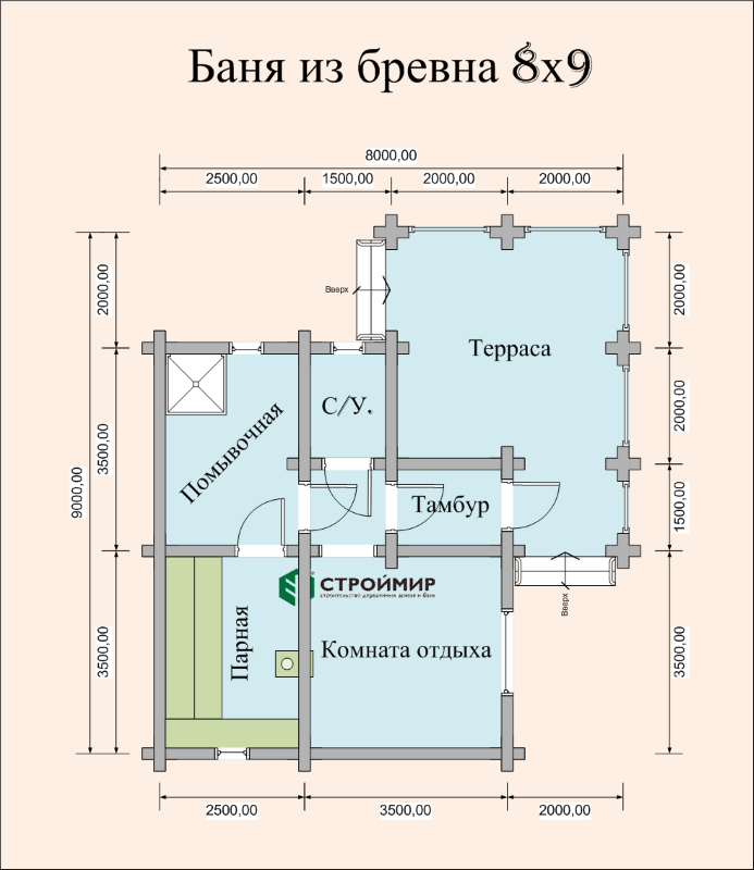 Баня 8х9 из оцилиндрованного бревна по проекту ББ-49