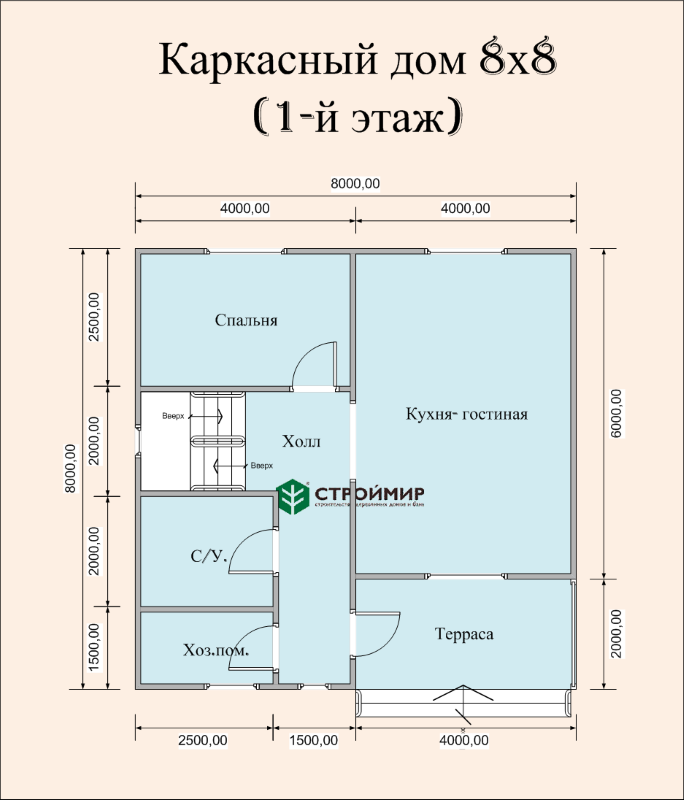 Каркасный дом 8х8 (проект К-102)