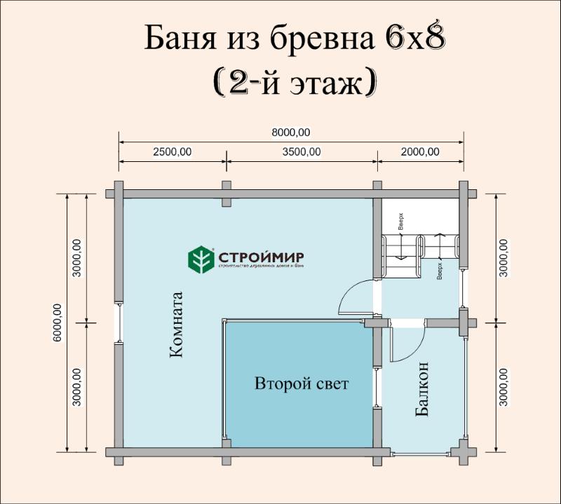 Баня 6х8 из оцилиндрованного бревна по проекту ББ-43
