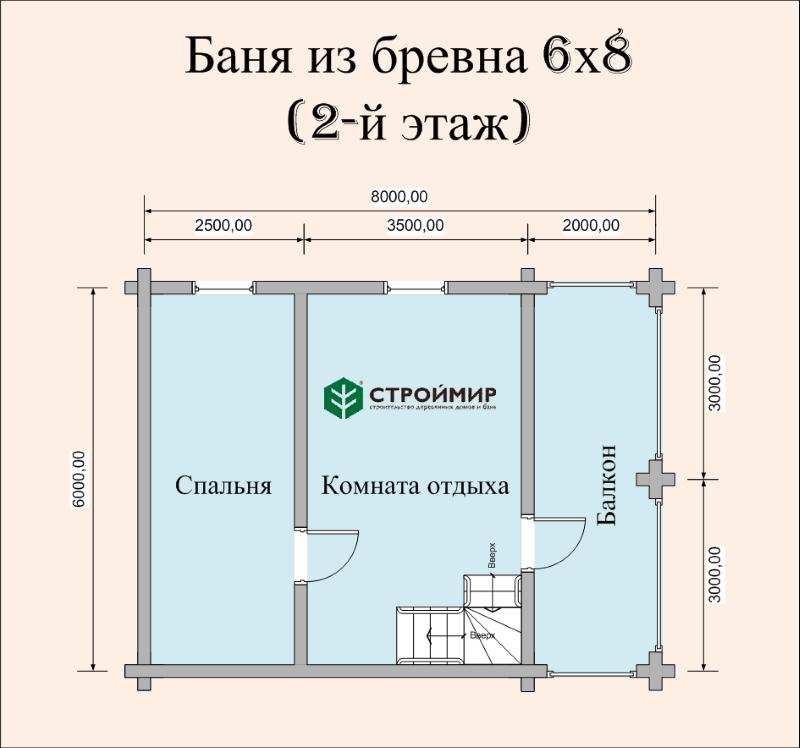 Баня 6х8 из оцилиндрованного бревна по проекту ББ-44