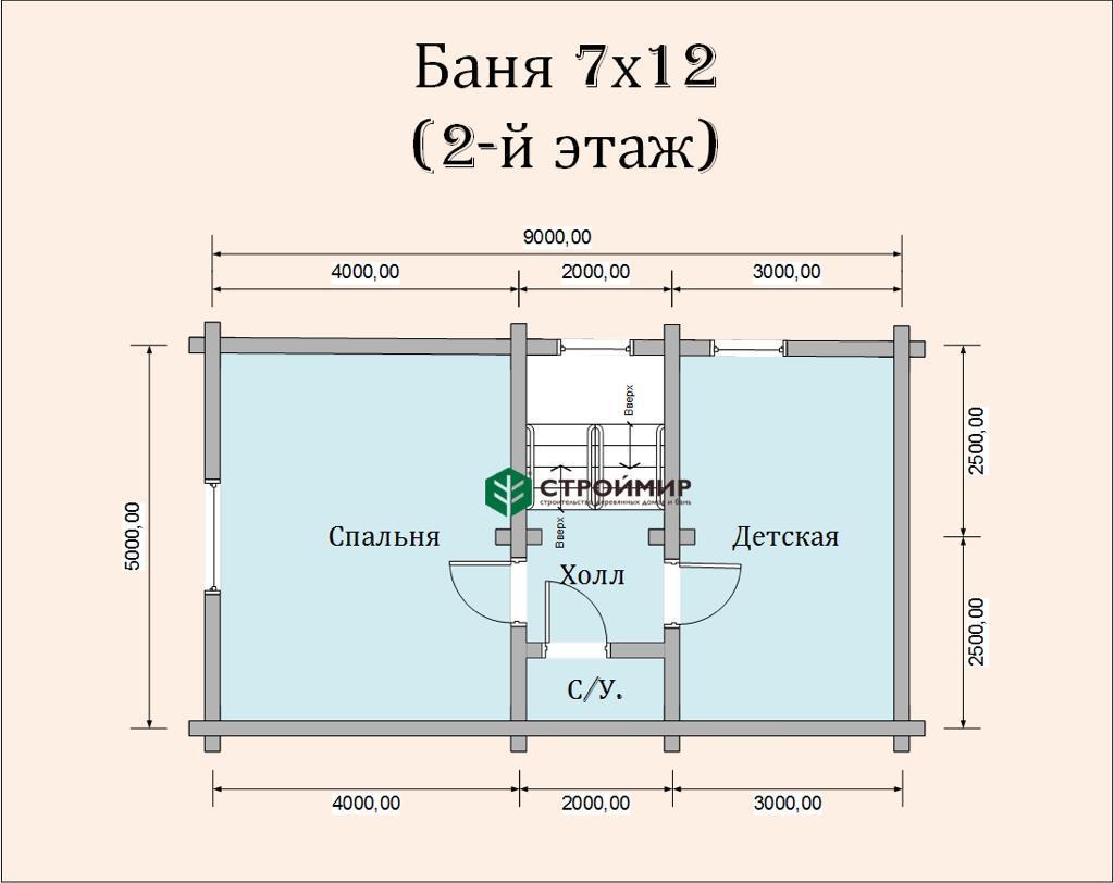 Баня 7х12 из оцилиндрованного бревна по проекту ББ-53
