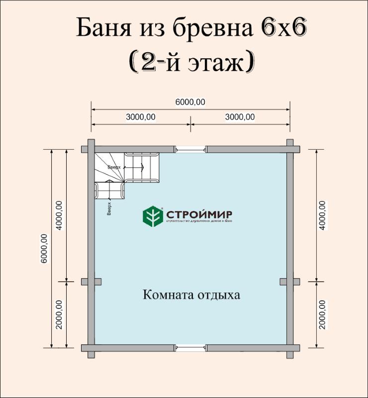 Баня 6х6 из оцилиндрованного бревна по проекту ББ-47