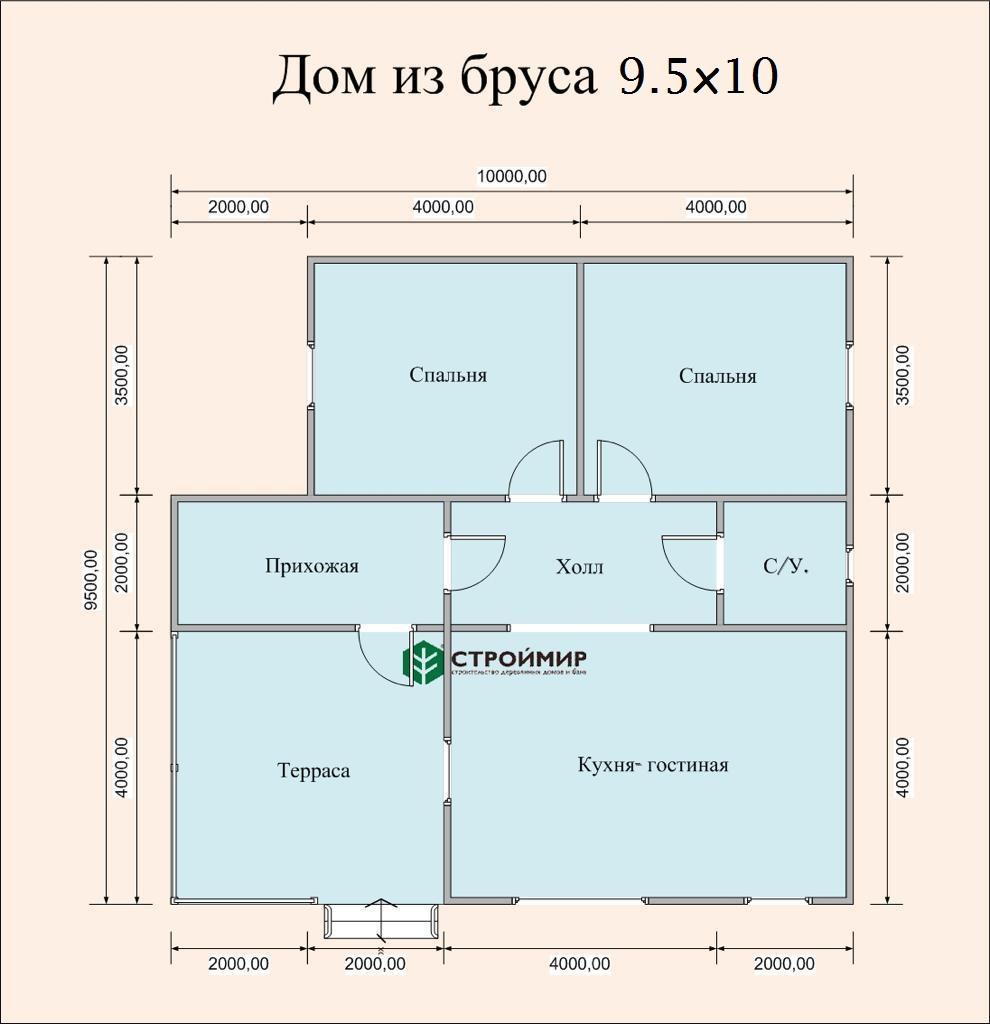 Дом из бруса 9,5х10 (Д-124)