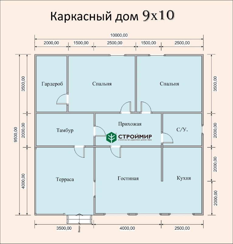 Каркасный дом 9х10, проект К-15