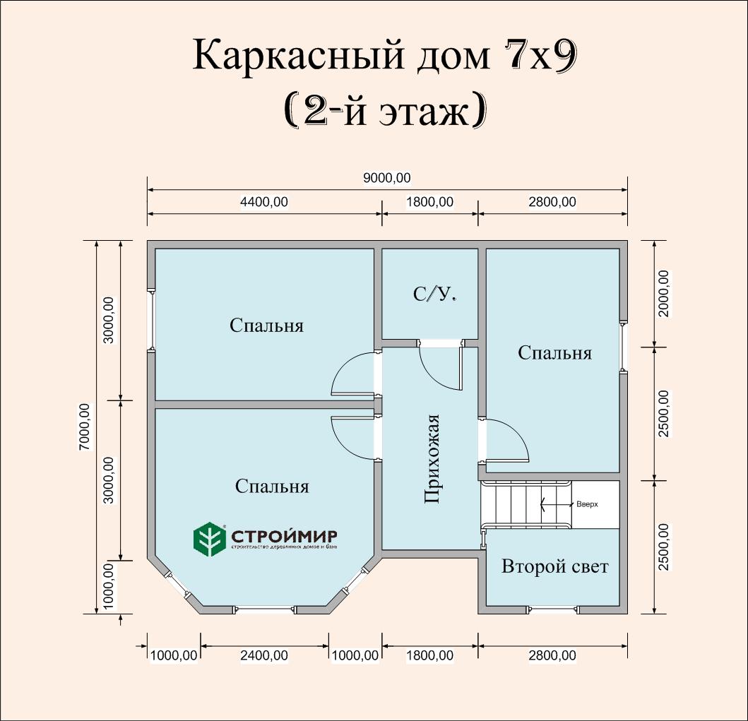 Каркасный дом 7х9, проект К-116