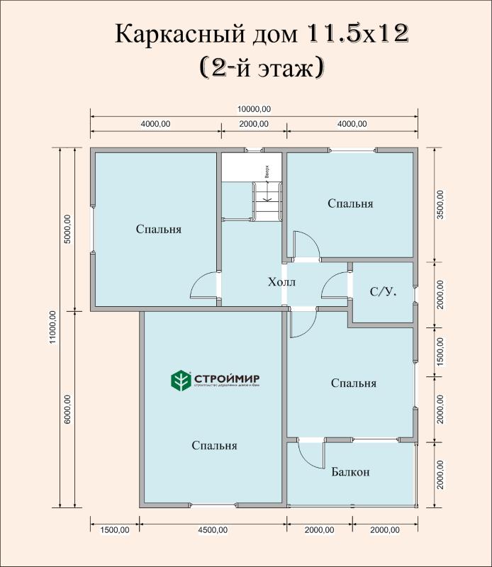 Каркасный дом 11.5х12, проект К-107