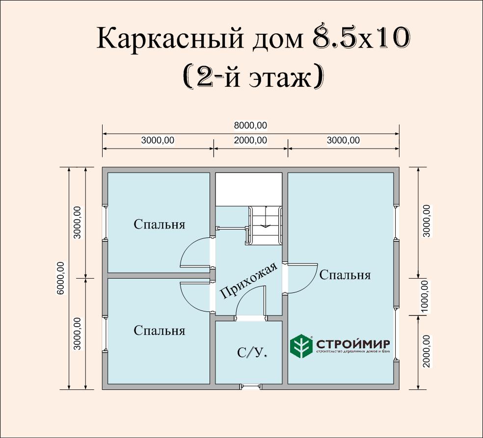 Каркасный дом 8.5х10, проект К-113