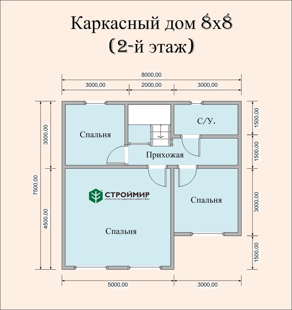Каркасный дом 8х8, проект К-114