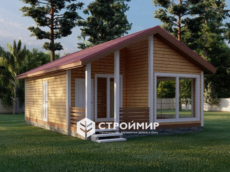 Проект одноэтажной бани 6х9 с панорамными окнами