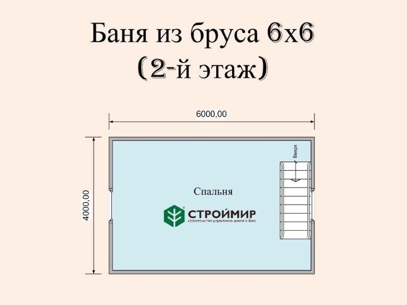 Баня 6х6 с мансардой и террасой, проект Б-17
