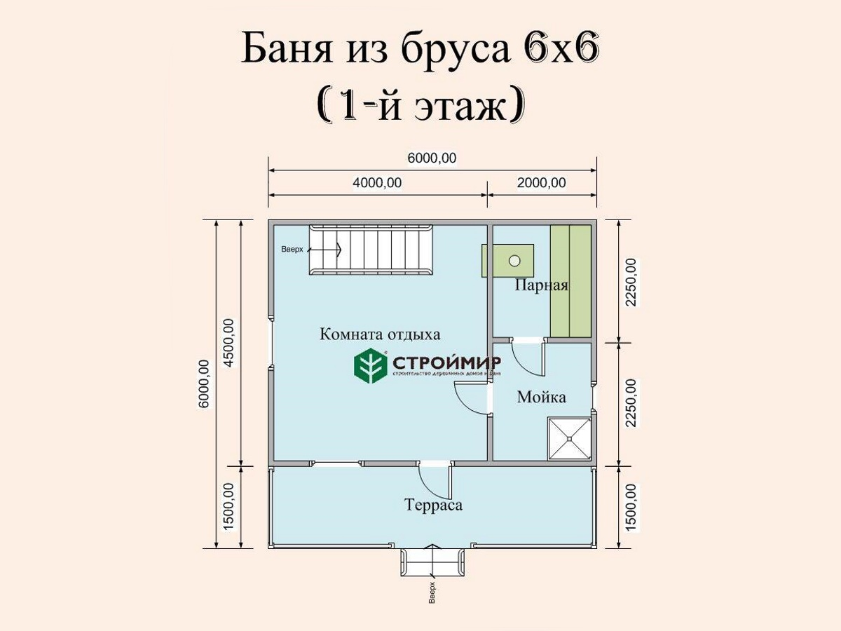 Баня-дом из бруса, проект Б-19