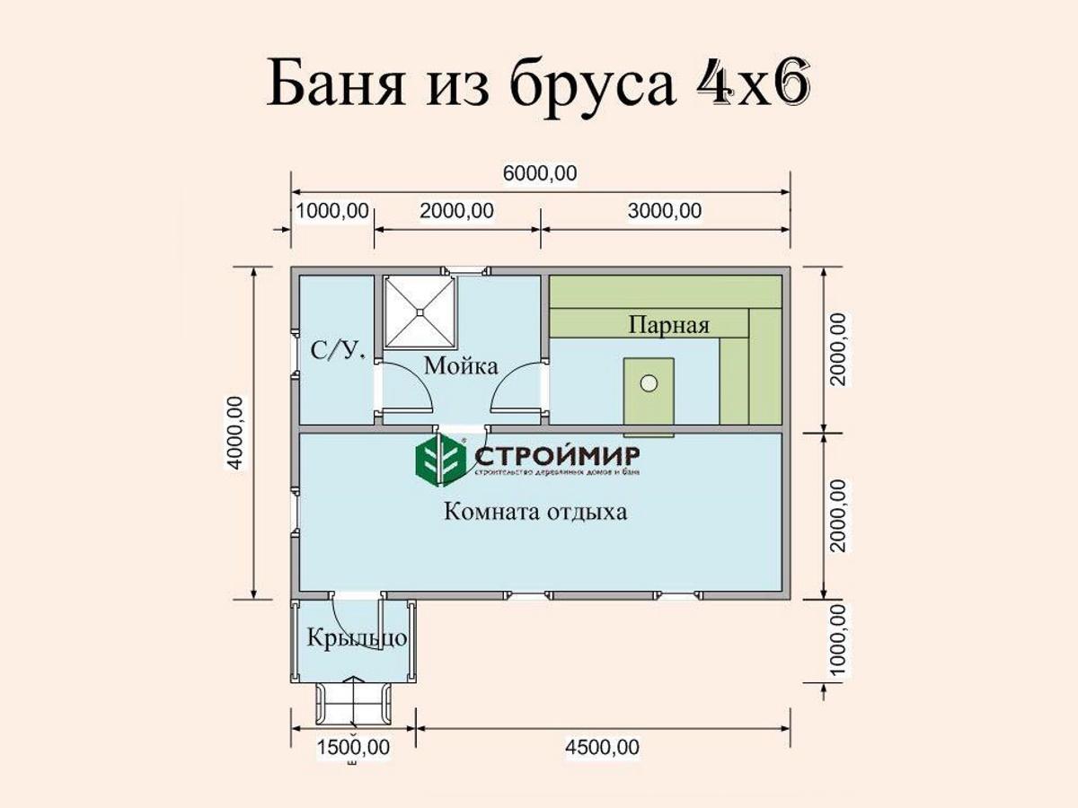 Брусовая баня 6 на 4 метра, проект Б-22