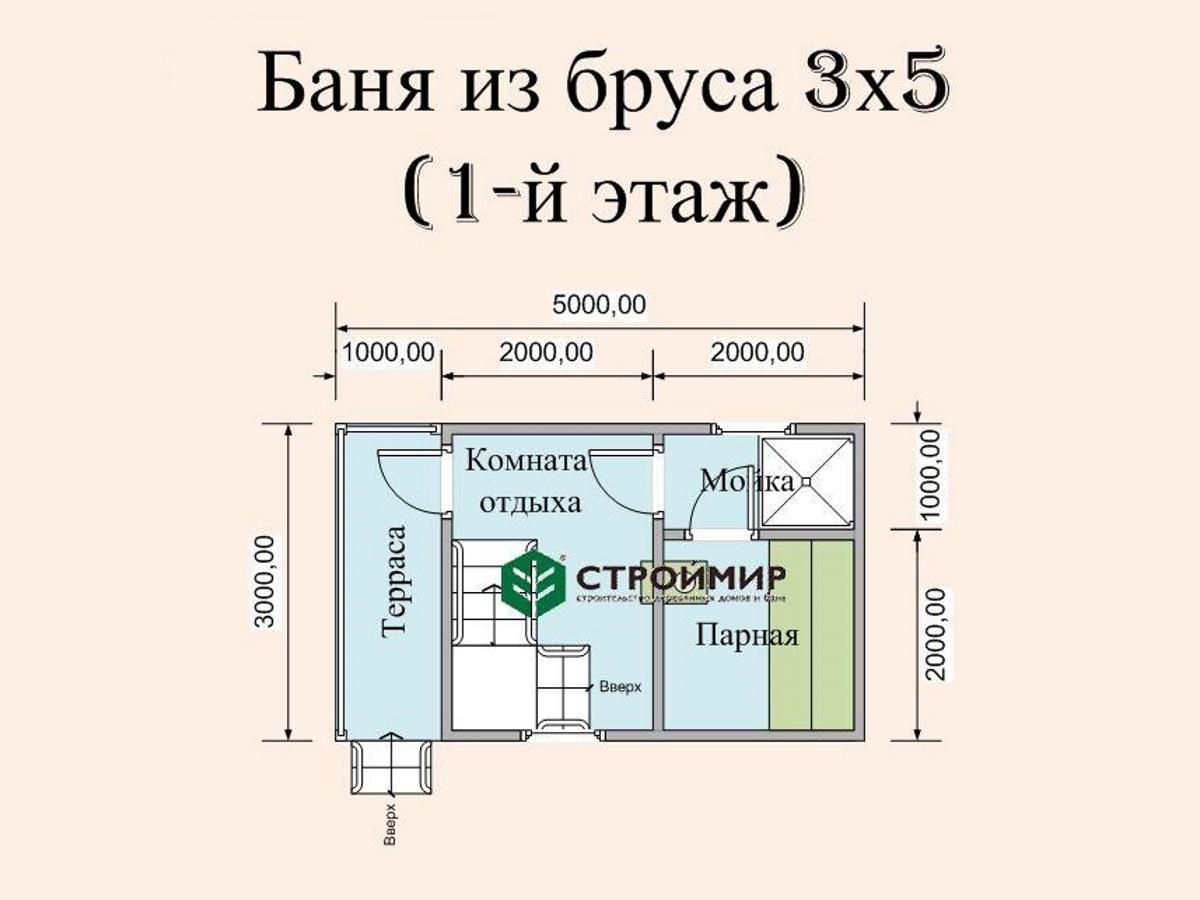 Баня 3х5 с мансардой, проект Б-26