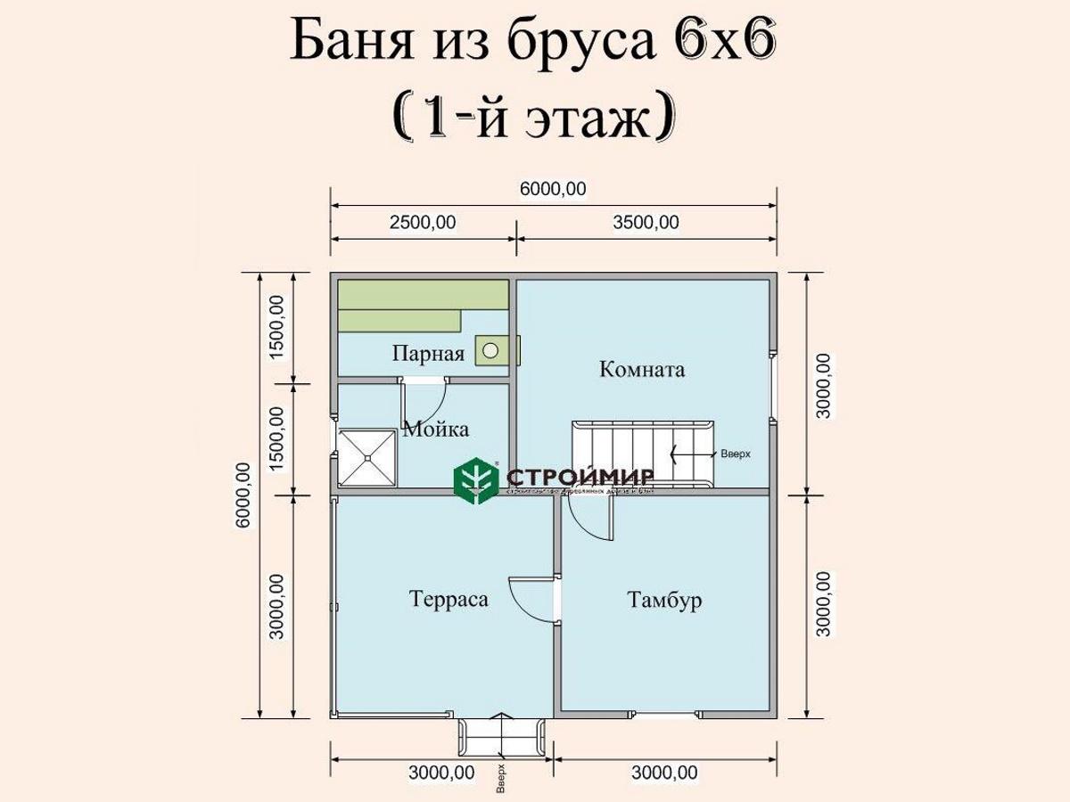 Баня с комнатой отдыха на втором этаже, проект Б-34