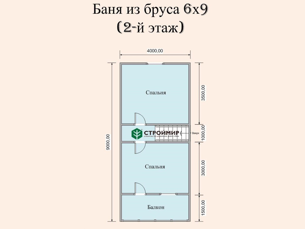 Баня 9х6 с мансардой, проект Б-35