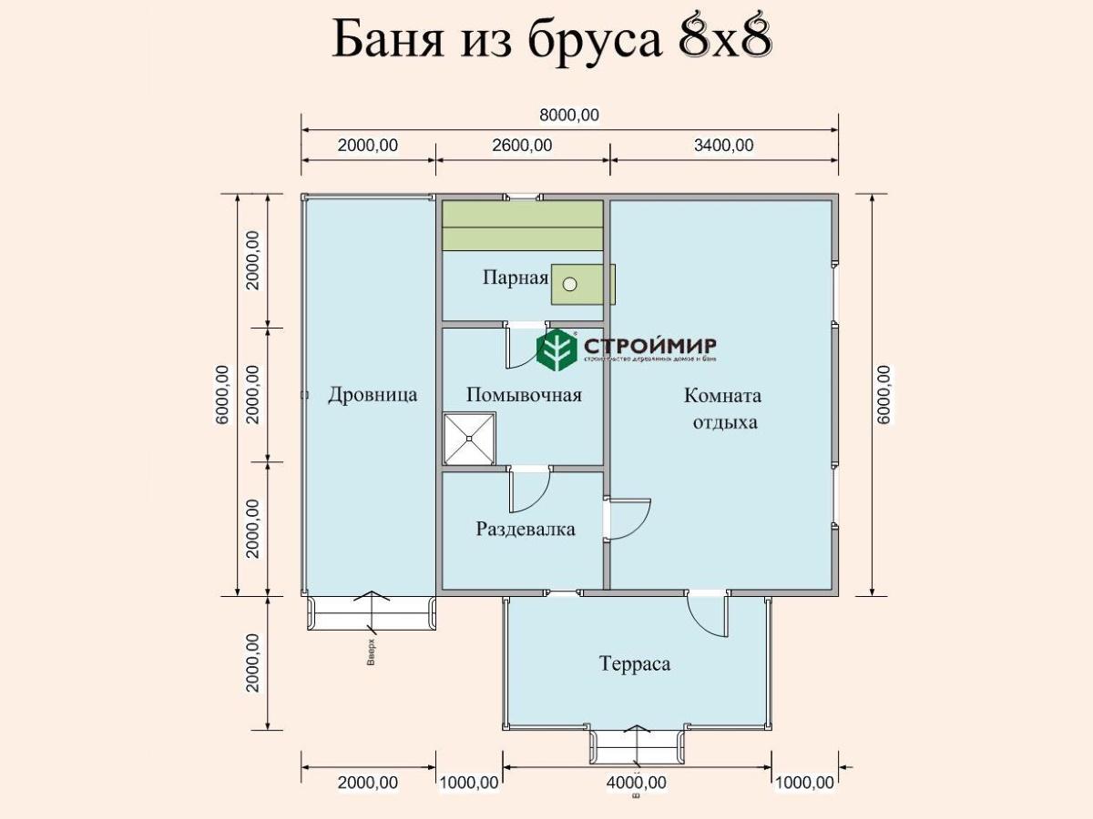 Одноэтажная баня 8х8 из бруса (проект Б-52)