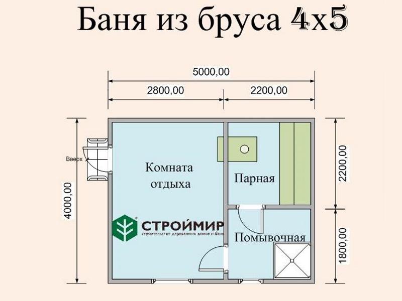 Баня из бруса 4х5 (проект Б-57)
