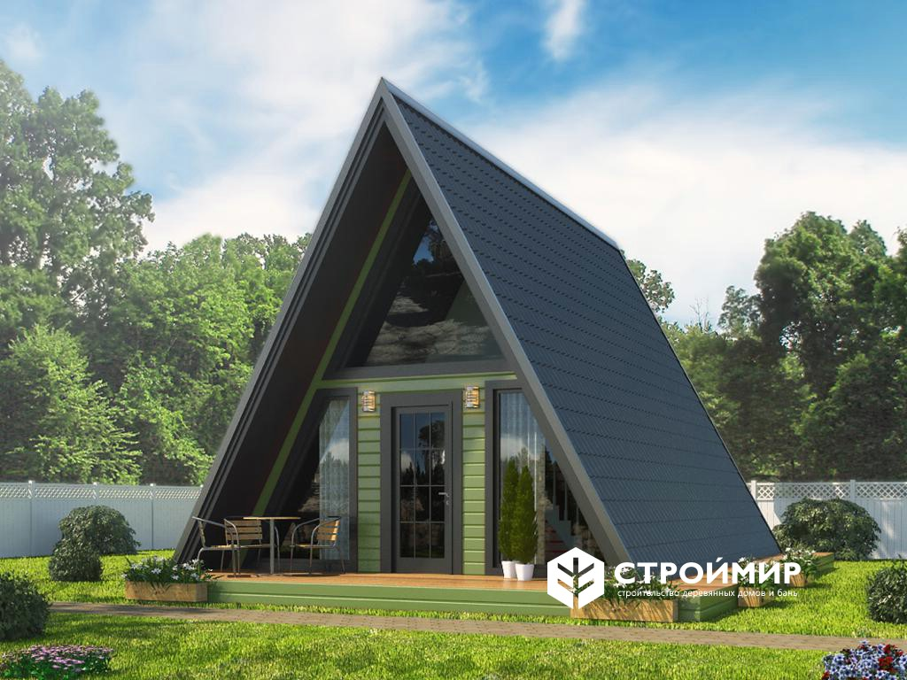 Каркасный дом шалаш 6х8, проект К-14