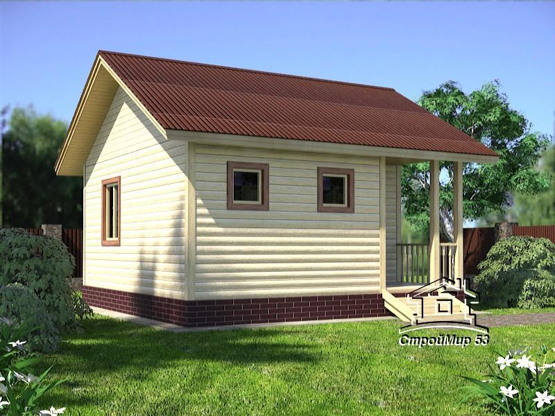 Одноэтажный дом из бруса 6х6 (садовый домик)