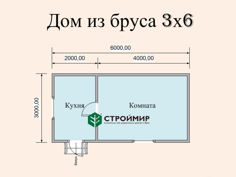 Одноэтажный дом из бруса 6х3 по проекту Д-128