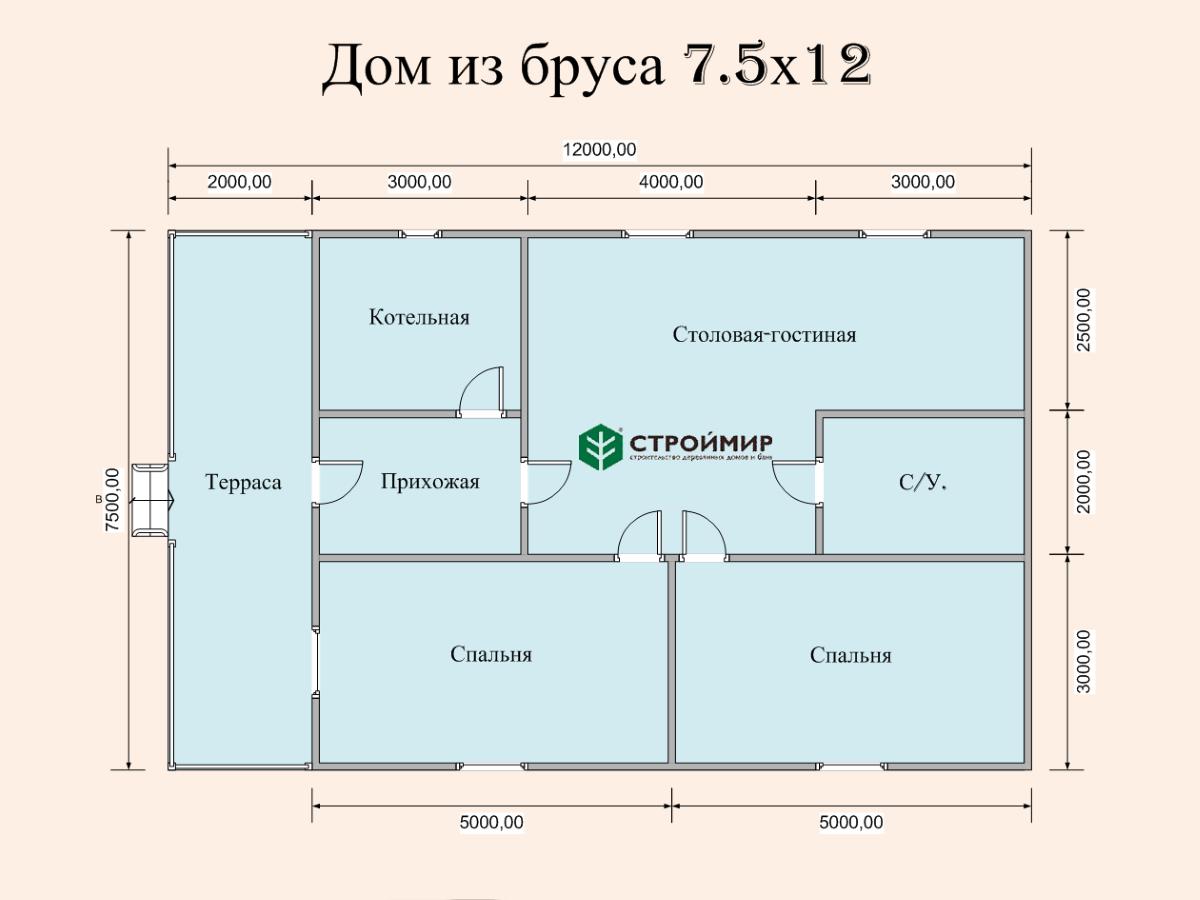 Одноэтажный дом из бруса 7х12 по проекту Д-4