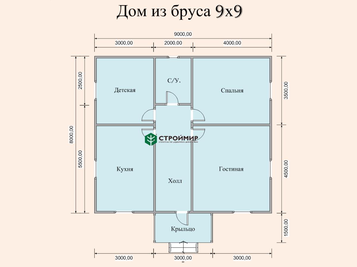 Одноэтажный дом из бруса 9х8 по проекту Д-131