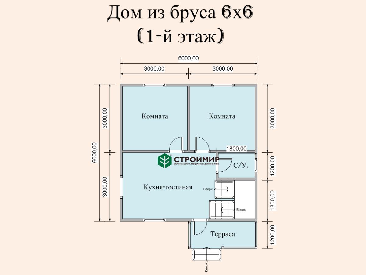 Дом 6х6 в полтора этажа (проект Д-84)