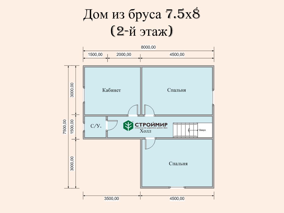 Двухэтажный дом 8х7,5 (проект Д-91)